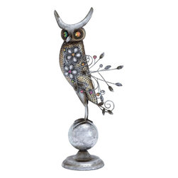 Benzara - Metal Owl Perched on A Small Metal Globe - Are you looking out for a garden ornament that fits in with any garden style? Then your search is over with this magnificent decorative rooster. This striking metal rooster is a great way to decorate your garden or your outdoor living space like the patio, balcony, or porch. You can use this metal rooster for brightening up your interiors too. It looks equally beautiful in your living room, kitchen, hallway or as a centerpiece! This piece is perfect as an add-on to enhance the beauty of your garden. Place it anywhere in your garden, near the small pond, among the bushes or near your flower-bed. With minute detailing done perfectly, this metal rooster is a must-have addition for enhancing the beauty of your outdoors or indoors. The U-shaped stake on the feet of this metal bird makes it more stable allowing you to place it on any kind of surface. So buy this wonderful garden ornament today!