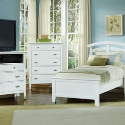 Vaughan Bassett - Twin Size Arched Panel Bedroom Set in Snow Wh - Includes twin size panel bed, nightstand, chest and media cabinet. Snow White finish. Assembly required. Twin size panel bed:. Includes arched headboard, platform footboard and wood rails. Arched headboard: 45 in. L x 2.5 in. W x 52 in. H. Platform footboard: 42 in. L x 2.5 in. W x 21 in. H. Wood rails: 74 in. L x 6 in. W x 1 in. H. Nightstand:. 2 Drawers. 26 in. W x 16 in. D x 29 in. H. Chest:. 5 Drawers. 38 in. W x 18 in. D x 51 in. H. Media cabinet:. 3 Drawers. 1 Component shelf. 43 in. W x 18 in. D x 43 in. H. Under bed storage box: 52 in. L x 19 in. W x 7.5 in. H (optional)