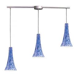 Joshua Marshal - Satin Nickel Starlight Blue Glass Multi Light Pendant - Satin Nickel Starlight Blue Glass Multi Light Pendant
