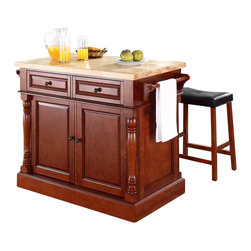 Crosley Furniture - Crosley Oxford Butcher Block Top Kitchen Island with Stools in Cherry - Crosley Furniture - Kitchen Carts - KF300064CH