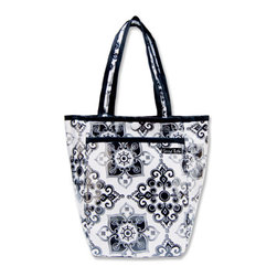 """Trend Lab - Diaper Bag - Versailles Black & White Mini Tote - Trend Lab's Mini Tulip Tote is the perfect on-the-go accessory for quick outings where a large diaper bag is unnecessary. It's perfect for short shopping trips and can hold a bottle, diapers, wipes and other small necessities! Or use this wonderful bag as a toy bag, beach bag, lunch tote, or cosmetic bag. This Mini Tulip Tote allows you to conveniently pack the essentials and go!. Versailles Black & White Mini Tulip Tote features a filigree motif print in black and white with a black and white diamond print trim and lining. Bag features a laminated exterior for easy clean up and durability, a snap closure and one exterior pocket. Bag measures 7"""" x 9 1/2 """" x 4"""" and features two handles measuring 16 1/2 """" in length."""