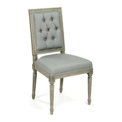 Kathy Kuo Home - Pair French Country Louis XVI Sage Green Tufted Linen Dining Chair - Understated elegance is at the heart of French Country interiors, combining formal and casual with ease.  In creating the improvised, yet cohesive look, seating plays a major role and pieces like this sage linen dining chair are the foundation of great rooms. Tufted details, classic carpentry and a slightly distressed finish on the frame create a dignified, yet inviting effect. Item sold as a pair.