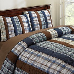 Hudson Plaid Quilt & Sham - Add a traditional touch to your little boy blue's room with this blue and brown plaid bedding. Quilt and sham combine to create a soft and beautiful place to lay his head.