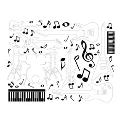 Dana Decals - Guitar and Drum Music Collection Wall Decal - Electric Guitar and Drums and Music Notes Wall Collection Collage