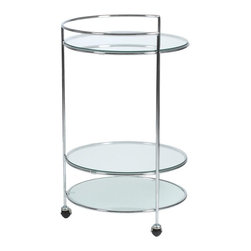 Euro Style - Roberta High Round Rolling Cart - Perfect for dinner parties, or even just an extra storage space, the serving cart is a perfect accessory for any kitchen. The round glass surfaces are supported by a lovely chrome finished steel frame. Use it to easily and conveniently roll out drinks or snacks. Add just the right touch of class to your next party with this elegant and convenient serving cart. The glass is both frosted and clear, while being fully tempered. * Roberta High Round Rolling Cart. Chromed Steel Frame. Frosted & Clear Tempered Glass Shelves. Chrome Casters. Some Assembly Required. 19in Dia x 29.75in H