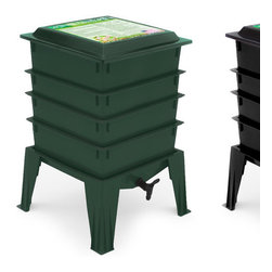 Nature's Footprint - Worm Factory 360 Composter - The Worm Factory 360 Composter worm bin was designed to be lightweight, odorless, and easy to manage. Recycling your paper scraps into fertile soil for your house plants and balcony garden year round is effortless, even if you have only a small corner to spare. Simply add a handful of worms and your organic waste to the bottom tray of the worm bin. The worms will start processing the food. Once the bottom tray is filled add another tray. The worms migrate upward to the newest food source leaving the bottom tray full of nutrient-rich compost. It is important to note that worms are living creatures, and cannot tolerate extreme temperatures. We recommend that you keep the Worm Factory between 40 and 80 degrees. Features: -16 Page, illustrated instruction booklet.-Quick tips lid for speedy references.-Complete worm bedding kit with coir.-Three piece accessory kit.-4 Chapter DVD guide for beginners.-Expandable multi-tray design gives the largest volume of any home worm bin.-Odorless operation when following provided instructions for indoor use.-Made in USA.-Constructed of high quality recycled plastic.-4 Easy stacking trays with collection base, expandable up to 8 trays.-Collection: Worm Factory.-Distressed: No.-Country of Manufacture: United States.Dimensions: -Dimensions: 28'' H x 18'' W x 18'' D.-Weight: 13 lbs.-Overall Product Weight: 13 lbs.Warranty: -20 Year warranty.