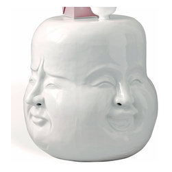 Kathy Kuo Home - Laughing Buddha Expressions Global Bazaar White Garden Stool - About face! Add a little lightheartedness to your space with this white ceramic garden stool. Each side features a smiling Buddha that looks perfectly happy set next to a chair or sofa. Or, use it outdoors as an inspired plant stand or extra setting in the garden or on a deck.