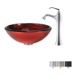 Kraus - Kraus Charon Glass Vessel Sink and Ventus Faucet Brushed Nickel - *Add a touch of elegance to your bathroom with a glass sink combo from Kraus