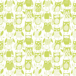 Loboloup - Owls, Apple Green, Roll - These green apple-colored owls aim to please. Who wouldn't want them hanging out in their room?
