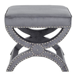 Home Decorators Collection - Kennedy Ottoman - Our Kennedy Ottoman's legs are formed by the characteristic curved X of the Savonarola chair from which it was inspired. Upholstered in linen with self-welting nickel nailhead detailing, this eye-catching piece offers you plenty of decorating options. Use it in pairs under a console, at the foot of a chair or for extra seating anywhere. Your choice of fabric color. Pine/plywood. 100% linen seat. Nickel nailheads.