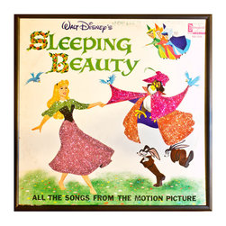 """Glittered Sleeping Beauty Album - Glittered record album. Album is framed in a black 12x12"""" square frame with front and back cover and clips holding the record in place on the back. Album covers are original vintage covers."""