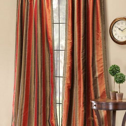 Home Decorators Collection - Roshini Drapery Panel - With a striped pattern that is sure to accentuate the look of your home decor, the Roshini Drapery Panel offers a transitional look that will blend with both contemporary and traditional designs. With a wide range of color combinations to match any interior design scheme, you'll love the addition of these window treatments to your home. Order today and revive the look of your home decor. Trimmed on both sides. Hidden tabs create a flowing, seamless look.