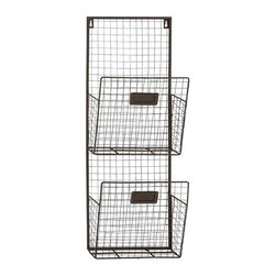 Benzara - Double Columns Metal Wire Wall Unit - Double Columns Metal Wire Wall Unit. Spruce up your indoor with this double wire metal multi-purpose wall unit. Some assembly may be required.
