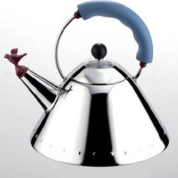 Alessi Coffee and Tea - Alessi Coffee and Tea 9093 Kettle with Bird Whistle (Blue) - Kettle with handle and small bird-shaped whistle in polyamide. Magnetic stainless steel bottom. Handle is in a classic blue color; the bird-shaped whistle is in a classic red color. Manufactured by Alessi. Designed in 1985.