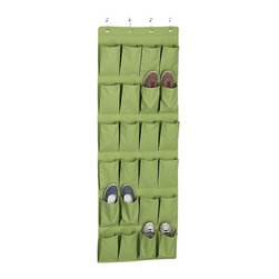 Green Over The Door Shoe Bag - Cram in as many shoes as possible with this over-the-door fabric shoe organizer. It holds up to 12 pairs of shoes.
