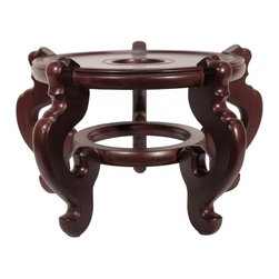 Oriental Furnishings - Oriental Porcelain Fish Bowl Stand, 15.5 - Our Five-Legged wooden fishbowl stands are hand made at an exceptional price for this high quality stand. We have visited many wooden stand manufactures and this is the best there is. Hand carved rounded legs with round base top offers a very strong and stable stand that will hold considerable amount of weight. These are finished in dark mahogany color with clear lacquer coat that is water resistant. Use as a plant stand or vase stand, this high quality wooden stands will make your planter look like a million bucks.  We suggest these for floor use and offer a variety of sizes. As of 1984 import direct pricing.
