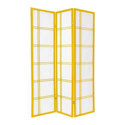 Oriental Furniture - 6 ft. Tall Double Cross Shoji Screen - Special Edition, Mustard, 3 Panel - A traditional building material in Japan, Shoji rice paper is renowned for its ability to offer privacy without completely blocking ambient light. Set in a stylish Scandinavian spruce frame, this screen will make a striking accent to any room's decor.