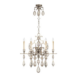 Fine Art Lamps - Encased Clear Crystal Gems Chandelier, 729440-3ST - Like fine jewelry, this six-light chandelier will surely dazzle. Finished in vintage silver leaf, it features a multitude of encased crystal gems in clear or amethyst, tourmaline and aquamarine colors and holds six bulbs. It's a brilliant way to add sparkle and polish to your room.