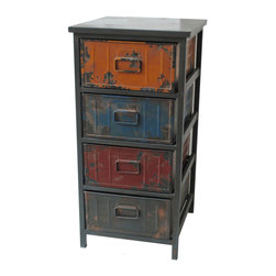 Moe's Home Collection - Paintbox Cabinet Small - Colorful drawers cabinet with metal iron handle.