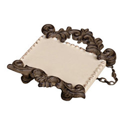 "Gracious Goods GG - GG Collection Mini Frame with Chain - Festive Functionality defines the chained ceramic mini frame by the GG Collection! They will adorn canisters, and wine bottles as they display your love messages, wine opening date, and contents! * Dimensions: 3.6""  x 4"""