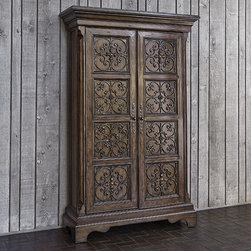 Ambella Home Collection - Ambella Home Collection - Madrid Armoire - 02184-260-001 - For any questions please call 800-970-5889.Ambella Home Collection - Madrid Armoire - 02184-260-001  Features:Madrid Collection ArmoireTwo adjustable shelves and four drawersMedium brown distressed wood finishMade of mindi wood with had wrought iron panelsIron has unique gold finishAntique brass hardwareTraditional StyleSome Assembly Required�Dimensions:�56W x 19D x 87H