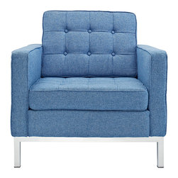 "IFN Modern - Florence Knoll Inspired Armchair-Blue Tweed - Product DimensionsOverall Dimensions: 31.5"" H x 31.5\"" W x 31.5\"" D"