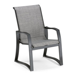 Telescope Casual Momentum Sling Aluminum Dining Chair - Complement your modern outdoor decor with the Telescope Casual Momentum Sling Aluminum Dining Chair. Sleek, clean-lined aluminum frames hold a stretchable sling made of long-lasting elastomeric fabric. The frame is available in numerous finishes, and it's crafted from 100% aluminum with recycled aluminum materials. Made for the great outdoors, the body of the armchair is powder-coated with a tough finish that is resistant to peeling or cracking. This chair is made in the U.S.A. and no assembly is required. Dimensions: 25.75L x 29W x 39H inches. About Telescope Casual FurnitureAfter 100 years in an industry where design differentiation is crucial for success, Telescope Casual Furniture has become known for its ability to stand out. The century-old manufacturer exceeds most retailers' expectations not only by consistently turning out unique products, but also by maintaining an unwavering stance with respect to quality. Recipient of the Casual Furniture Retailers Association Manufacturer Leadership Award, the Granville, N.Y.-based company will continue to push the envelope on already high standards for the next 100 years.