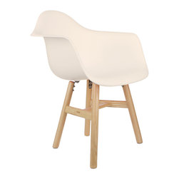 Drifted Arm Chair in Cream - Some designs were ahead of their time. Considered the chair of tomorrow both for its design and for its innovative single-mold manufacturing technique, one of the most iconic mid-century furniture designs inspired the Drifted Arm Chair. Created in the spirit of economy and affordability, its unique shape was designed to spread the sitter's weight and pressure evenly. The deep seat and waterfall edge provide additional comfort as the design shapes itself around the body's curves, while its natural-tone square base adds stability. If you've done away with formality in your home, the Drifted Arm Chair is that one piece of furniture that exemplifies the �less is more� ethos. It's the ultimate seat for versatility, thriving as a home office chair, as an entryway slipper seat, or as that one statement piece in the living room.