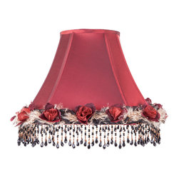 Brandi Renee Designs - All Lit Up Romantic Rose - Looking to add a little romance to your boudoir? You can't go wrong with our All Lit Up Romantic Rose lampshade that's the perfect mix of rich red satin fabric, roses, feathers and sophisticated black beadwork. Like every BRDesign lampshade, our All Lit Up Romantic Rose lampshade is handcrafted from the finest quality materials.