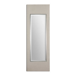 """Clevon Modern Mirror - This Stately Mirror Features A Flat Profile Frame Finished With A Crisp, Beige Linen Wrap Accented With A Raised, Silver Leaf Inner Wood Lip. Mirror Has A Generous 1 1/4"""" Bevel. May Be Hung Horizontal Or Vertical."""