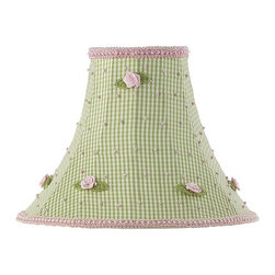 Jubilee Collection - Medium Shade - Green Check wpink rosebud - Material: silk, metal. 4 x 10 x 8 in.