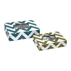 iMax - Hatcher Chevron Photo Boxes, Set of 2 - These popular chevron boxes are topped with frames to highlight your favorite photos. In trendy pattern and colors, this set of two boxes makes a great gift.
