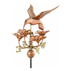 G.D. - Good Directions Hummingbird with Flowers Weathervane - Polished Copper - A coveted sight in every backyard, this hovering hummingbird, feeding in flight, is ready to grace the rooftop of your house, barn, garage, or cupola. Our Good Directions' artisans use Old World techniques to handcraft this fully functional, standard-size weathervane that's unsurpassed in style, quality and durability. A great gift for bird enthusiasts!