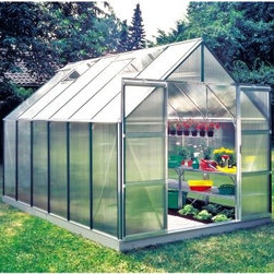 Halls Magnum 8 x 12-Foot Greenhouse Kit - Additional Features Double doors make it easy to bring in larger items Superb twin wall has double the heat retention of glass Diffuses the light to prevent your plants being burned Lightweight and virtually unbreakable 4mm thick double-walled panels Includes aluminum or plastic strips to attach to the ends Strips prevent objects getting stuck between the layers UV resistant coating protects your plants Greenhouse kit includes a steel base Door measures 48W x 71H inches Sidewall measures 4.5 feet Peak height measures 8 feet Measures 8W x 12L x 8H feet Relax in the quiet serenity of your very own greenhouse with the Halls Magnum 8 x 12-foot Greenhouse Kit. Beautifully designed and well-made this greenhouse incorporates all the best features of a quality greenhouse. The Halls Magnum Greenhouse features cast joints and additional struts at the eaves and ridge to give this greenhouse extra strength. An additional six inches was added to the ridge and eaves to not only increase headroom but also to make room for hanging plants. To make sure your plants are protected and won't burn this greenhouse is made with strong and durable polycarbonate glazing to diffuse the light and has a UV resistant coating. The superb 4mm thick doubled-panel twin walls have twice the heat retention of glass and include aluminum or plastic strips to prevent foreign objects from getting stuck in between the panes. The greenhouse has four roof vents for increased circulation and double doors that make it easy to bring in a wheelbarrow or wheelchair. The greenhouse kit comes with a base which adds 5-inches to its height. Assembly is a weekend project for one or two people. About The Greenhouse Connection LLCThe Greenhouse Connections was established in 1993 to connect gardeners who are looking for a well-made traditional English greenhouse with Halls Garden Products Ltd. of England the world's leading manufacturer of hobby greenhouses. By networking with a variety of people and companies including independent garden centers nurseries mail-order garden and seed catalogs and greenhouse supply companies The Greenhouse Connection does just that. Their offices are located in Grant Pass OR.