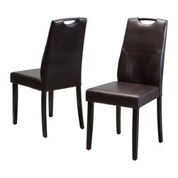 Great Deal Furniture - Marilyn Brown Leather Dining Chairs (Set of 2) - The Marilyn Dining Chairs are a perfect set to bring together any space in your home. They compliment almost any decor and even double as extra seating. These chairs fold down for extra storage and has a convenient handle on the backrest. The Marilyn Dining Chairs will satisfy for years to come by offering comfort, style, and durability.
