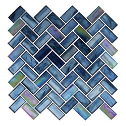 "Euro - Blue Glossy And Iridescent Glass - Transform any room with these unique and inspired Blue Glossy & Iridescent Glass tiles. Whether you are looking to infuse your decor with something classic or contemporary, this artful blend lends the perfect ambience. Both distinctive and durable, these tiles can be used in myriad applications, be it backsplashes, bathrooms, fireplaces, walls, even ceilings and floors. Incorporate these top quality artisan tiles for a gorgeous and dramatic effect.        Sheet size:  11 1/2"" x 10""    .87 Sq. Ft.        Tile Size:  1"" x 2""        Tiles per sheet:  56        Tile thickness:  1/4""        Grout Joints:  1/8""        Sheet Mount:  Mesh Backed        Sold by the sheet"