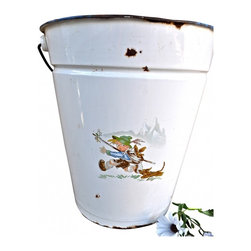 "Enamel Pail - I love the scene of the boy and his dog on this European enamel pail. It is white with a wood handle and the art work and pail are in very good condition. A couple small blemishes beacuse it is vintage...Measurements are 12"" x 13""."