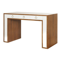 Worlds Away - Thomas Desk - Rosewood desk with 3 white lacquer drawers and brass ring hardware.