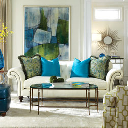 April 2014 new collections - Turquoise and bright green make can freshen up any room! Shown here are the Huntington House 7469-20 sofa, 7499-50 chair and 3392-56 chair.