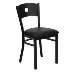 Flash Furniture - Hercules Series Black Circle Back Metal Restaurant Chair with Black Vinyl Seat - Provide your customers with the ultimate dining experience by offering great food, service and attractive furnishings. This heavy duty commercial metal chair is ideal for Restaurants, Hotels, Bars, Lounges, and in the Home. Whether you are setting up a new facility or in need of a upgrade this attractive chair will complement any environment. This metal chair is lightweight and will make it easy to move around. For added comfort this chair is comfortably padded in vinyl upholstery. This easy to clean chair will complement any environment to fill the void in your decor.