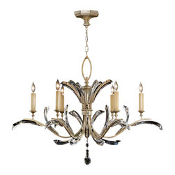 Fine Art Lamps - Beveled Arcs Chandelier, 702440ST - This classic crystal chandelier will make a singular statement in your favorite formal setting. Beveled crystal accents sweep gracefully across elegant arms in a muted silver-leaf finish.