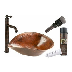 Premier Copper Products - Free Form Copper Vessel w/ORB Faucet - BSP1_PVSHELL17 Premier Copper Products Free Form Hand Forged Old World Copper Vessel Sink with ORB Single Handle Vessel Faucet, Matching Drain and Accessories