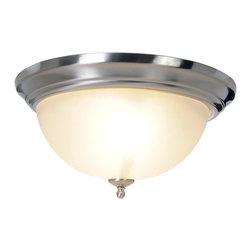 Premier - One Light Sonoma 15.5 inch Flush Mount - Brushed Nickel - Premier 617264 15-1/2in. W by 7-3/4in. H Sonoma Lighting Collection 2 Light Flush Mount, Brushed Nickel.