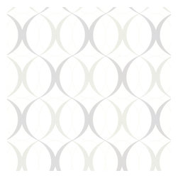 Circulate White Retro Orb Wallpaper. - A retro wallpaper design with contemporary drama in silver and grey on white.