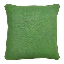 Villa Home - Metro Clover Green Pillow - Think eye-catching enchanted green and that sums up our Metro Clover pillow.  100% woven linen makes this lush pillow oh so soft.  Each wine country inspired pillow is handcrafted.  Zipper closures and feather down insert included with every pillow.