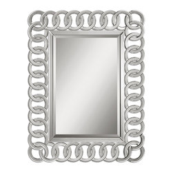 """Uttermost - Uttermost Frameless Mirrors Mirror Uttermost Mirrors - Frame is constructed of curved bevel mirrors in an interweaving pattern on a matte black wooden substrate. Center mirror has a generous 1 1/4"""" bevel. May be hung either horizontal or vertical."""