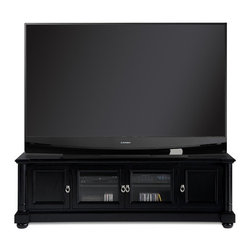 "Welton - Princeton 76"" TV Stand in Black - Quality & Style is part of the Welton difference. Each item in the Welton line is designed to meet the needs of a demanding customer. High quality and lasting beauty are part of every item we sell. Every home entertainment center is thoughtfully designed to provide families with years of enjoyment and comfortable style. The rich black finish of the Princeton TV Stand will compliment a variety of homes. Generous shelves and cabinets provide storage for audio visual equipment. This stand accommodates most TVs up to 76""W. Enhance your entertainment experience with the warm style of the The Princeton, exclusively from Welton USA. Features: -TV Stand. -Finish: Black. -Fits most televisions up to 76"". -Constructed of wood solids and wood veneers. -Protective clear coat resists marks and scratches. -Brushed nickel hardware. -Generous shelves and cabinets provide storage for audio visual equipment. -Fully assembled. -Overall Dimensions: 24"" H x 76"" W x 20"" D."