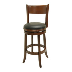 Boraam - Boraam Palmetto 29 Inch Bar Stool in Cherry Finish - Boraam - Bar Stools - 40829 - This beautifully constructed swivel stool is the perfect addition to your home. The attractively designed backrest plus the plush black seat, exuberates sophistication. The compatible design will undoubtedly merge seamlessly with any style kitchen, basement, game room, or bar! Constructed from solid hardwood, made with precision construction, and features a steel ball bearing swivel plate for a flawless three hundred and sixty degree swivel, making the Palmetto stool a durably solid piece of furniture. Performance tested by the leading testing facilities that are recognizable worldwide, purchasing this stool is not only a smart choice but also a wise investment. Additionally, the sleek bonded leather upholstery encases a high-density foam cushion providing the maximum level of comfort for all who sit.