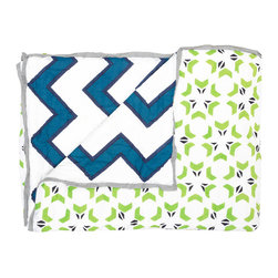 "Allem Studio - Allem Studio Dandelion Quilt - Simply spectacular, Allem Studio's Dandelion quilt boasts a graphic pattern dancing with modern appeal. This vibrant bed cover's geometric floral motif reverses to a chunky chevron print. Available in twin, queen and king; 100% cotton, 300 thread count; 100% cotton batting; Lime green, blue and white with gray piping; Hand screened; Machine wash; Twin: 72""W x 92""H; Queen: 92""W x 92""H; King: 110""W x 92""H"