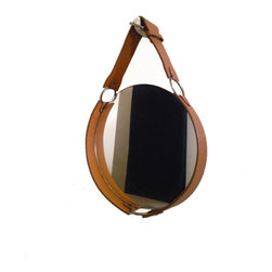 "October Design Co. - Campaign-Style Leather Strap Mirror - Hand-crafted in the style of campaign furniture, our leather strap mirror adds a touch of warmth and luxury to any environment. A 10"" circle mirror is cleverly framed with a camel-colored leather belt and nickel-toned rings and buckle. The hanging buckled strap is adjustable."